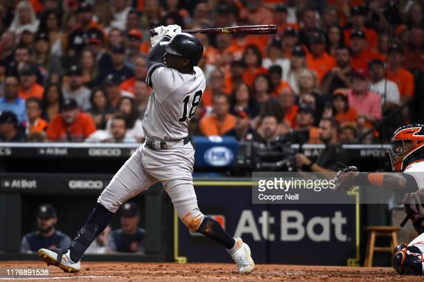 Didi Gregorius of the New York Yankees hits a double during the second inning of Game 6 of the ALCS between the New York Yankees and the Houston...