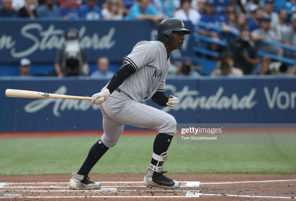 Didi Gregorius #18 of the New York Yankees hits a double in the first inning during MLB game action against the Toronto Blue Jays at Rogers Centre on August 10, 2017 in Toronto, Canada.