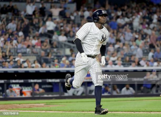 Didi Gregorius of the New York Yankees hits a three run home run in the fourth inning against the Kansas City Royals at Yankee Stadium on July 26,...