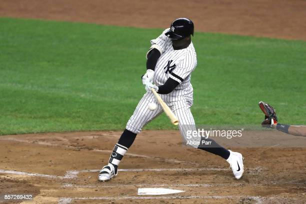 Didi Gregorius of the New York Yankees hits a three run home run against Ervin Santana of the Minnesota Twins during the first inning in the American...