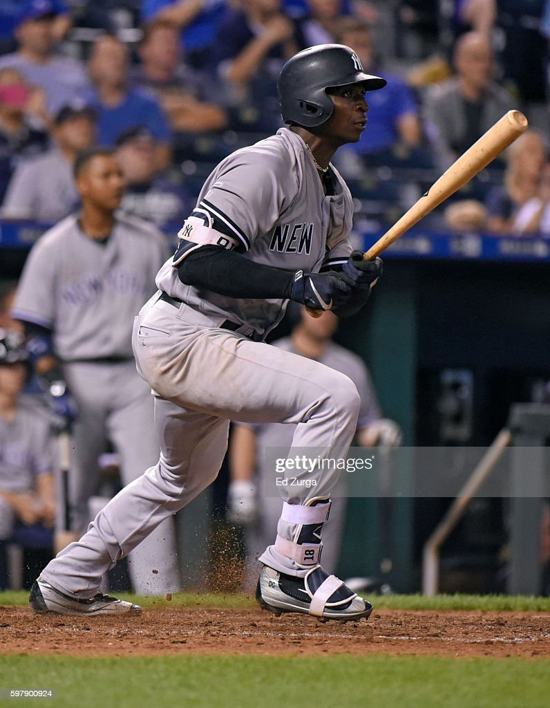 Didi Gregorius #18 of the New York Yankees hits a two-run double in the eighth inning against the Kansas City Royals at Kauffman Stadium on August 29, 2016 in Kansas City, Missouri.