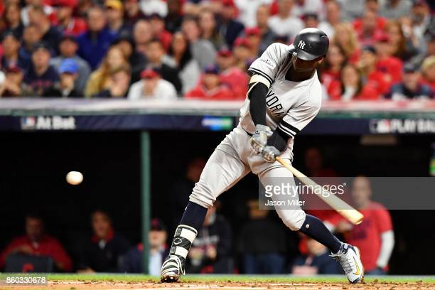 Didi Gregorius of the New York Yankees hits a tworun homerun in the third inning against the Cleveland Indians in game five of the American League...