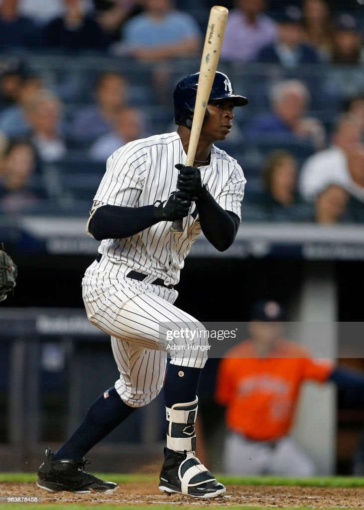 Didi Gregorius #18 of the New York Yankees hits an RBI single against the Houston Astros during the sixth inning at Yankee Stadium on May 30, 2018 in the Bronx borough of New York City.