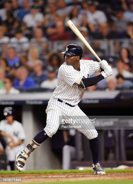 Didi Gregorius of the New York Yankees in action during an MLB baseball game against the Texas Rangers on August 10 2018 at Yankee Stadium in the...