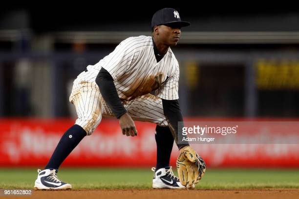 Didi Gregorius of the New York Yankees looks on against the Toronto Blue Jays during the fifth inning at Yankee Stadium on April 19 2018 in the Bronx...