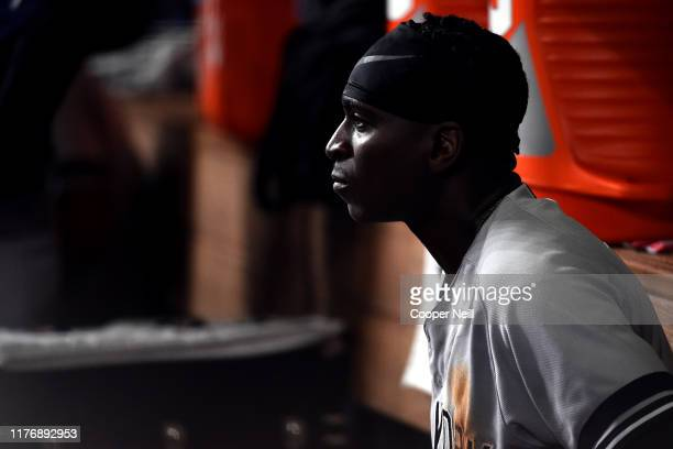 Didi Gregorius of the New York Yankees looks on from the dugout during Game 6 of the ALCS between the New York Yankees and the Houston Astros at...