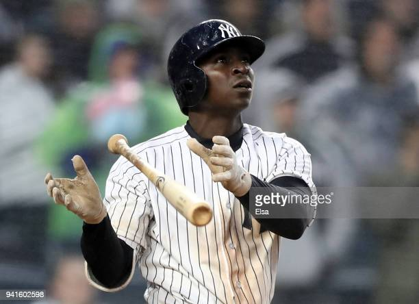 Didi Gregorius of the New York Yankees reacts after he hit a three run home run in the seventh inning against the Tampa Bay Rays during Opening Day...