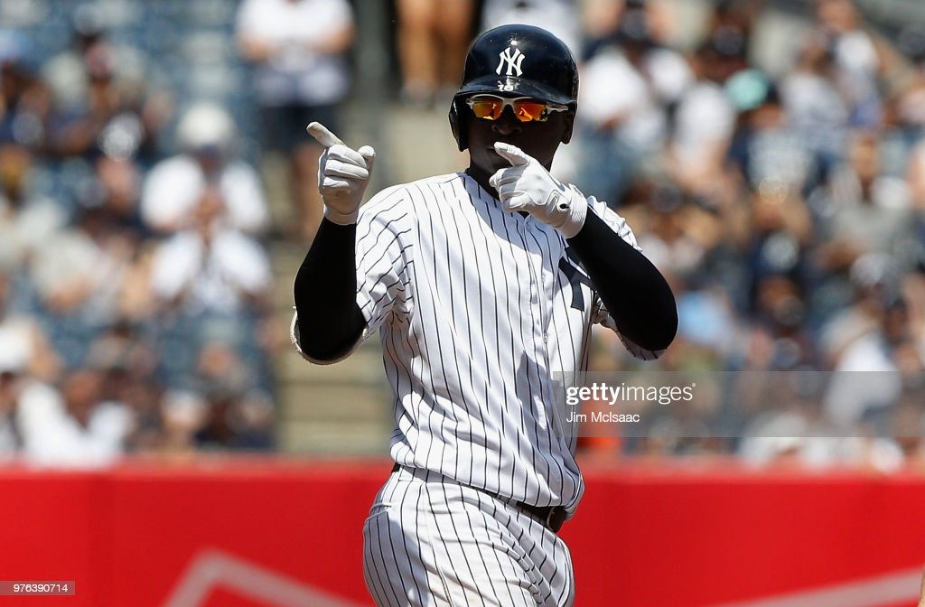 Didi Gregorius #18 of the New York Yankees reacts after his third inning RBI single against the Tampa Bay Rays at Yankee Stadium on June 16, 2018 in the Bronx borough of New York City.