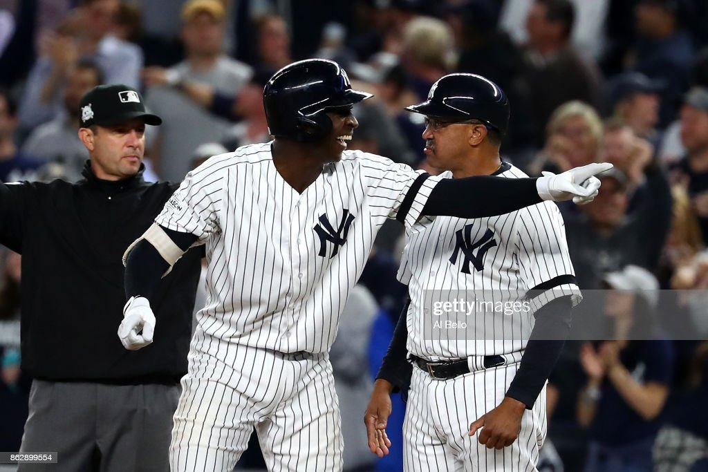 Didi Gregorius #18 of the New York Yankees reacts after hitting a single scoring Aaron Judge #99 during the fifth inning against the Houston Astros in Game Five of the American League Championship Series at Yankee Stadium on October 18, 2017 in the Bronx borough of New York City.