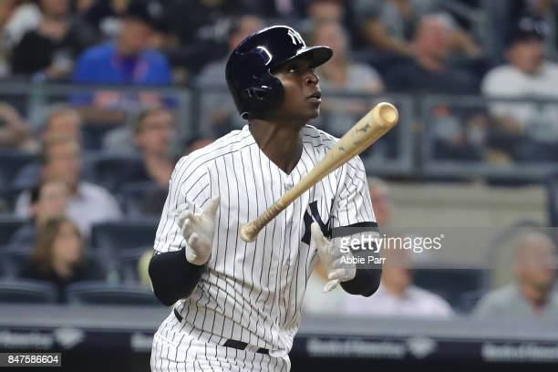 Didi Gregorius of the New York Yankees reacts after hitting a two run home run against the Baltimore Orioles in the fifth inning on September 15,...