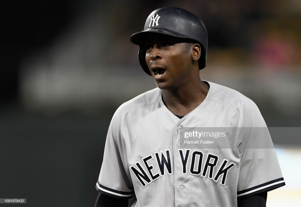 Didi Gregorius #18 of the New York Yankees reacts to striking out against the Minnesota Twins during the sixth inning of the game on September 10, 2018 at Target Field in Minneapolis, Minnesota.