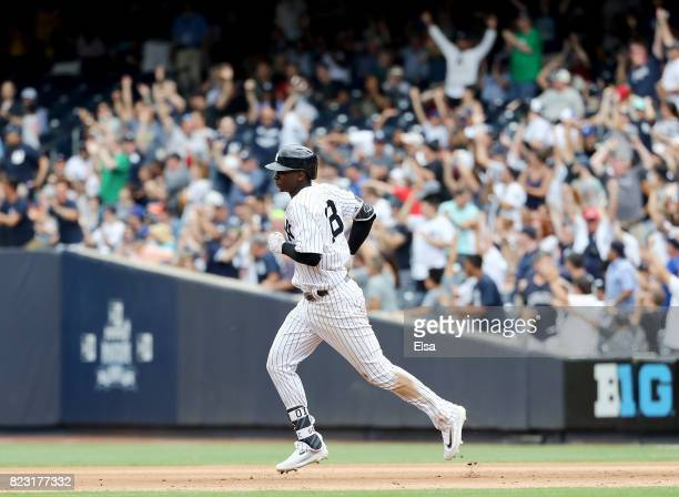 Didi Gregorius of the New York Yankees rounds the bases after he hit a two run home run in the seventh inning against the Cincinnati Reds on July 26,...