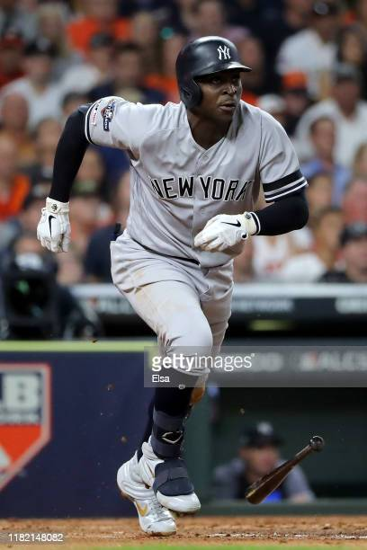 Didi Gregorius of the New York Yankees singles in the second inning against the Houston Astros in game six of the American League Championship Series...