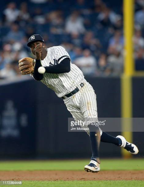 Didi Gregorius of the New York Yankees throws for an out during the third inning against the Texas Rangers at Yankee Stadium on September 04, 2019 in...