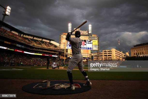 Didi Gregorius of the New York Yankees warms up in the on deck circle in the third inning while playing the Detroit Tigers at Comerica Park on August...