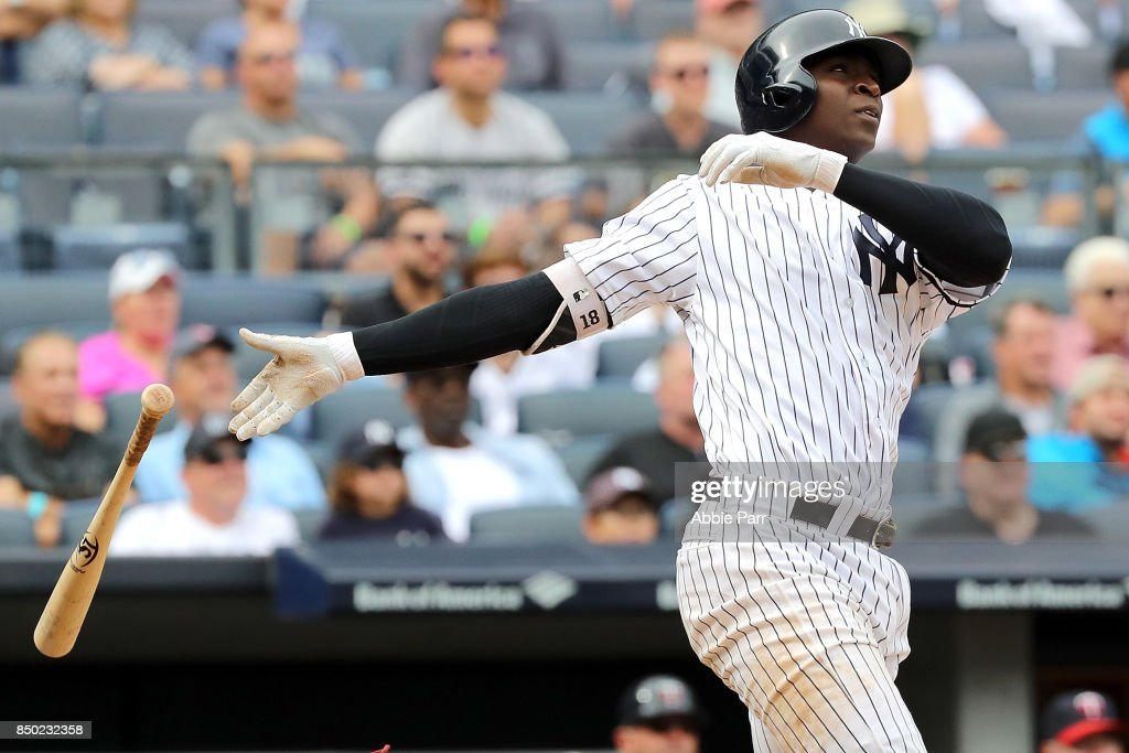 Didi Gregorius #18 of the New York Yankees watches his three run home run in the fourth inning against Minnesota Twins on September 20, 2017 at Yankee Stadium in the Bronx borough of New York City.