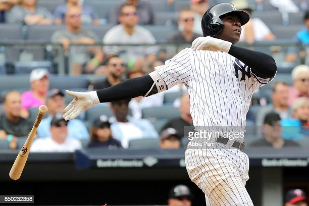 Didi Gregorius of the New York Yankees watches his three run home run in the fourth inning against Minnesota Twins on September 20, 2017 at Yankee...