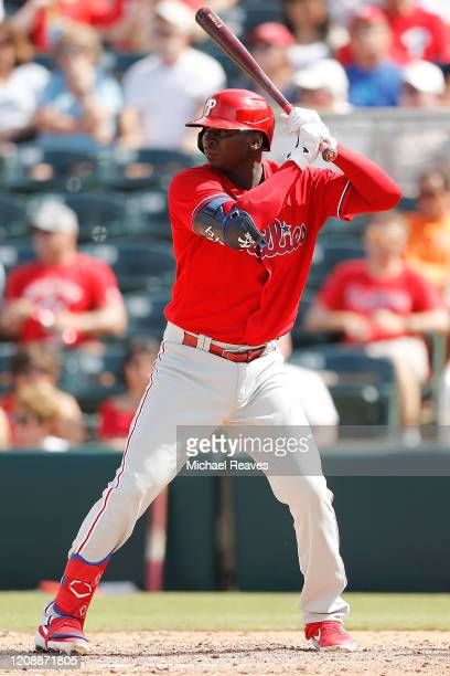 Didi Gregorius of the Philadelphia Phillies at bat against the Minnesota Twins during the fourth inning of a Grapefruit League spring training game...