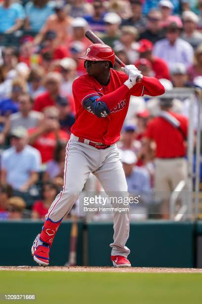 Didi Gregorius of the Philadelphia Phillies bats during a spring training game against the Minnesota Twins on February 26 2020 at the Hammond Stadium...