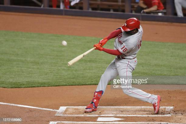 Didi Gregorius of the Philadelphia Phillies hits a grand slam first inning against the Miami Marlins at Marlins Park on September 12, 2020 in Miami,...