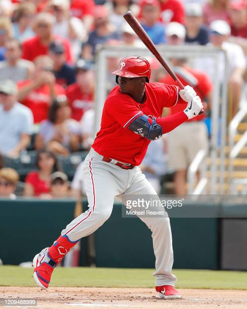 Didi Gregorius of the Philadelphia Phillies in action against the Minnesota Twins during a Grapefruit League spring training game at Hammond Stadium...