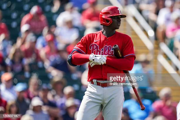 Didi Gregorius of the Philadelphia Phillies looks on during a spring training game against the Minnesota Twins on February 26 2020 at the Hammond...