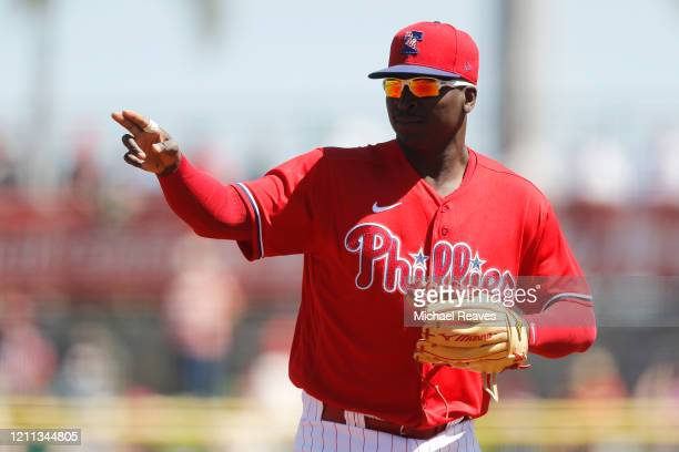 Didi Gregorius of the Philadelphia Phillies reacts against the Boston Red Sox of a Grapefruit League spring training game on March 07 2020 in...