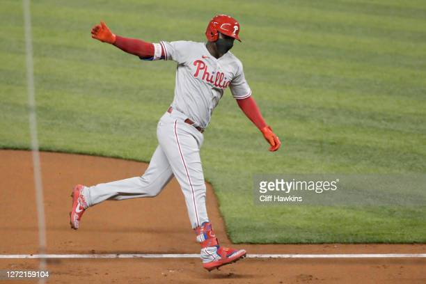 Didi Gregorius of the Philadelphia Phillies runs the basses after hitting a grand slam first inning against the Miami Marlins at Marlins Park on...
