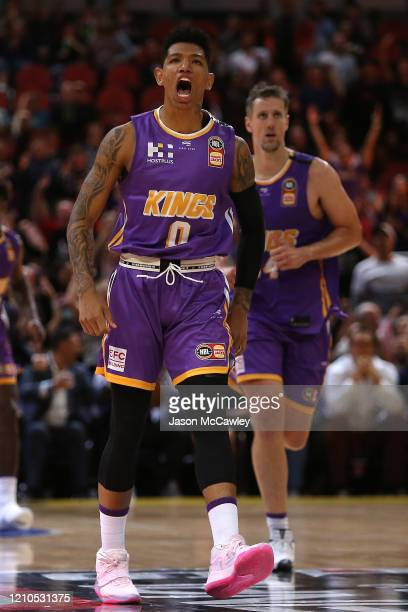 Didi Louzada of the Kings celebrates a basket during game three of the NBL Semi Final Series between the Sydney Kings and Melbourne United at Qudos...