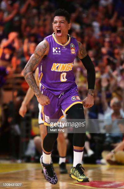 Didi Louzada of the Kings celebrates landing a three pointer to take the lead in the last minutes during game one of the NBL Semi Final Series...