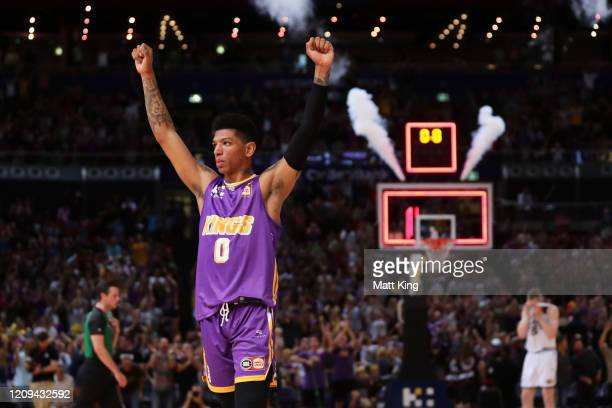 Didi Louzada of the Kings celebrates victory after game one of the NBL Semi Final Series between the Sydney Kings and Melbourne United at Qudos Bank...