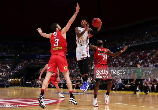 Didi Louzada of the Kings drives to the basket during the round six NBL match between the Sydney Kings and the Perth Wildcats at Qudos Bank Arena on...