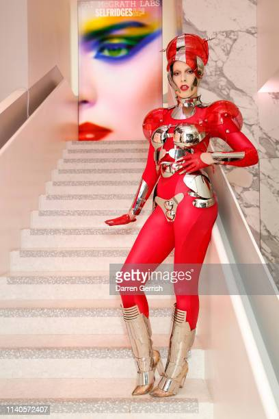 Didi Maquiaveli attends the Pat McGrath 'A Technicolour Odyssey' Campaign launch party at Brasserie of Light Selfridges on April 04 2019 in London...