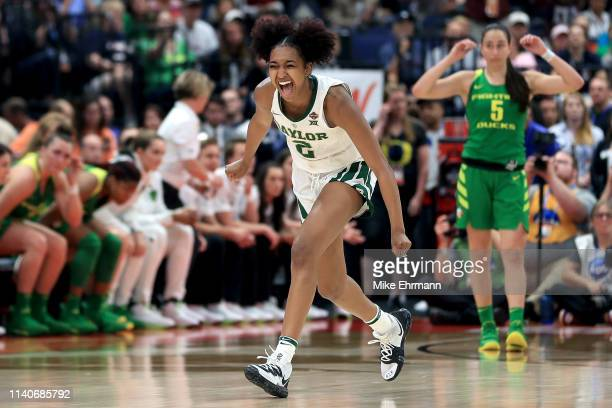 DiDi Richards of the Baylor Lady Bears celebrate her teams 72-67 win over the Oregon Ducks in the semifinals of the 2019 NCAA Women's Final Four at...