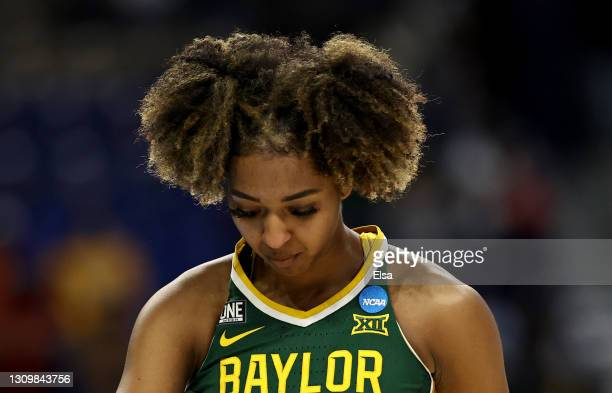 DiDi Richards of the Baylor Lady Bears walks off the court after the loss to the UConn Huskies during the Elite Eight round of the NCAA Women's...