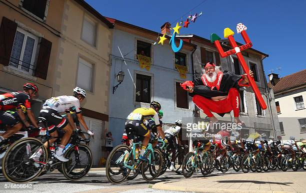 Didi 'The Devil' Senft jumps in the air during stage sixteen of the 2016 Le Tour de France from MoiransenMontagne to Berne on July 18 2016 in Berne...