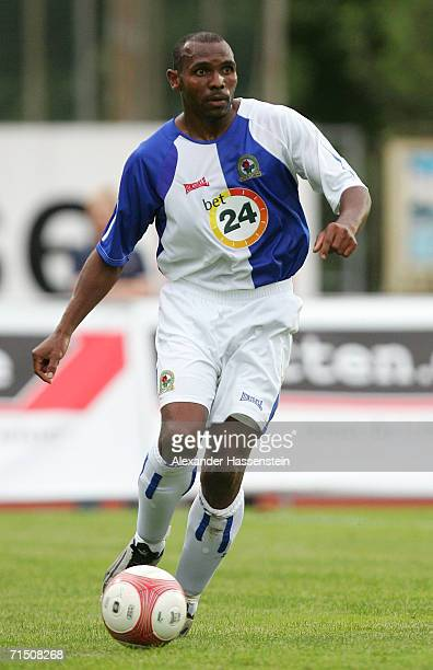 Didier Agathe of Blackburn running with the ball during the friendly match between Hamburger SV and Blackburn Rovers on July 23 2006 in Kufstein near...