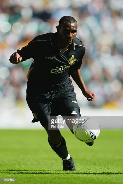 Didier Agathe of Celtic charges forward during the PreSeason Friendly match between Glasgow Celtic and Arsenal held on August 2 2003 at Celtic Park...