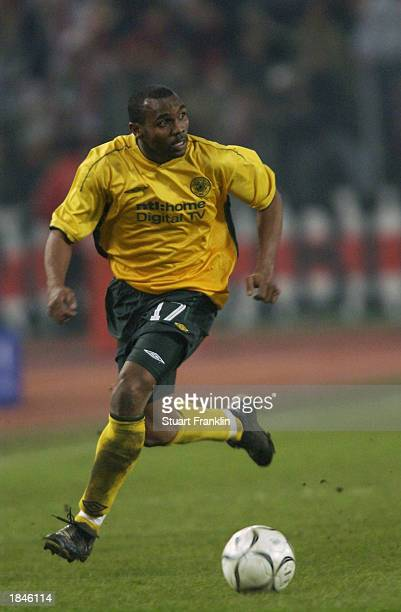 Didier Agathe of Celtic charges forward during the UEFA Cup fourth round second leg match between VFB Stuttgart and Glasgow Celtic held on February...