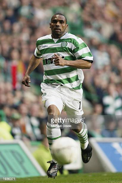 Didier Agathe of Celtic charges forward during the UEFA Cup semifinal first leg match between Celtic and Boavista held on April 10 2003 at Celtic...