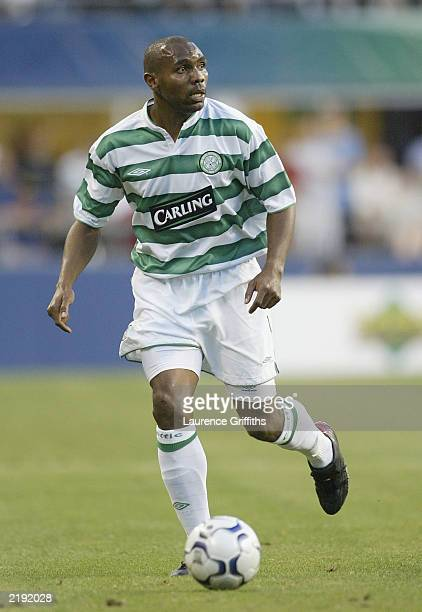 Didier Agathe of Celtic during the Champions World Series match between Manchester United and Celtic at Seattle Seahawks Stadium on July 22 2003 in...
