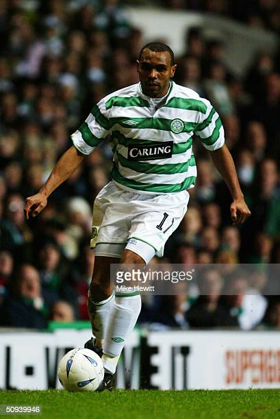Didier Agathe of Celtic during the UEFA Cup match between Celtic and FK Teplice at Celtic Park on February 26 2004 in Glasgow Scotland