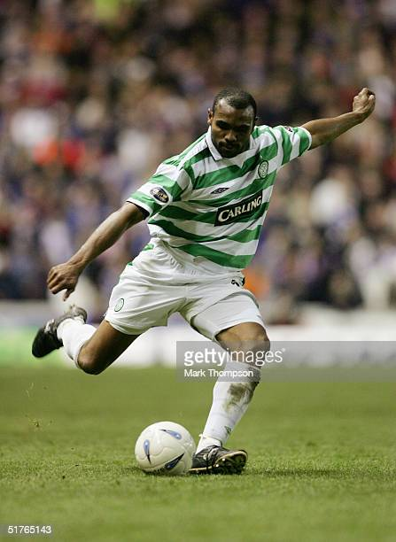 Didier Agathe of Celtic in action during the CIS Insurance Cup fourth round between Celtic and Rangers at Ibrox on November 10 2004 in Glasgow...