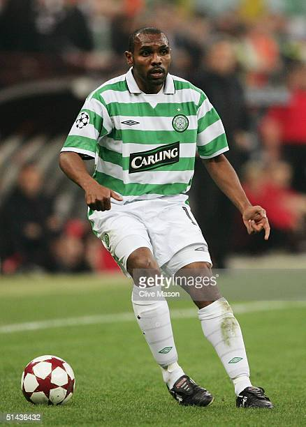 Didier Agathe of Celtic in action during the UEFA Champions League Group F match between AC Milan and Celtic at the San Siro on September 29 2004 in...