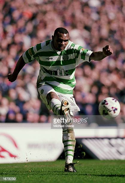 Didier Agathe of Celtic passes the ball during the Scottish Premier Division match between Rangers and Celtic held on March 10 2002 at Ibrox in...