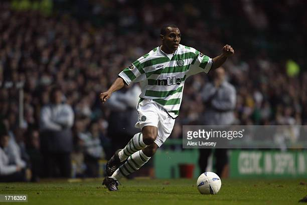 Didier Agathe of Celtic running with the ball during the Bank of Scotland Premier League match between Celtic and Dundee held on December 21 2002 at...