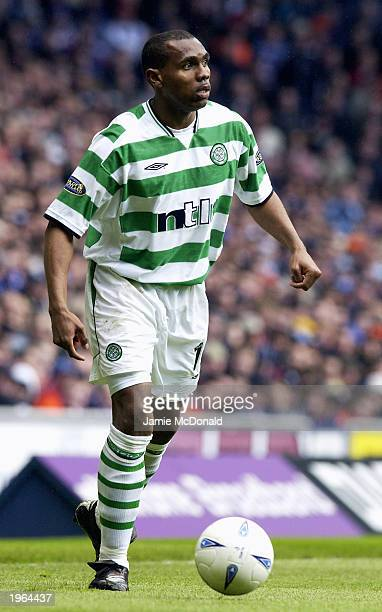 Didier Agathe of Celtic runs with the ball during the Bank of Scotland Scottish Premier League match between Glasgow Rangers and Glasgow Celtic held...