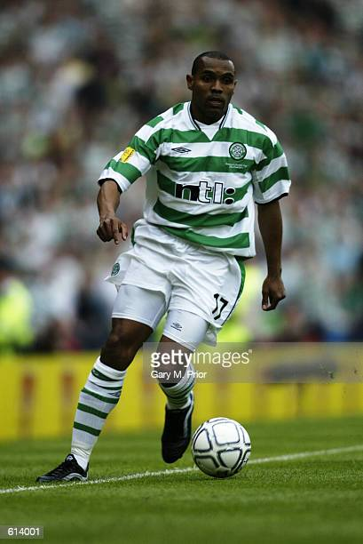 Didier Agathe of Celtic runs with the ball during the Tennents Scottish Cup Final between Celtic and Rangers played at Hampden Park in Glasgow...
