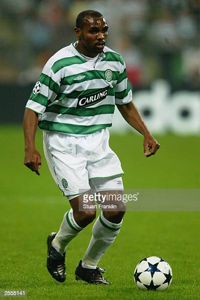 Didier Agathe of Celtic runs with the ball during the UEFA Champions League Group A match between FC Bayern Munich and Glasgow Celtic held on...