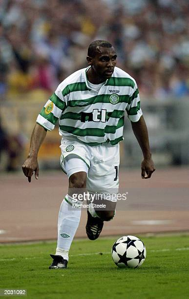 Didier Agathe of Celtic runs with the ball during the UEFA Cup Final match between Celtic and FC Porto held on May 21 2003 at the Estadio Olimpico in...
